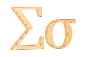 Golden Greek letter sigma, 3D rendering