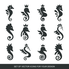 Stylized graphic Seahorse. Silhouette illustration of sea life. Sketch for tattoo on isolated white background. Vector flat Set of icons, logo collection