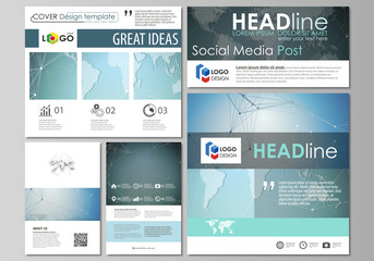 The minimalistic abstract vector illustration of the editable layout of modern social media post design templates in popular formats. Chemistry pattern, connecting lines and dots. Medical concept.