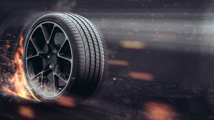 Performance tire (with gunge/dust overlay) - 3D Illustration Wall mural
