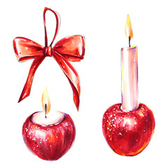 Christmas or Advent candles and decoration set
