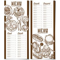 menu fastfood restaurant template design hand drawing graphic
