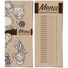 menu fastfood restaurant template design hand drawing graphic