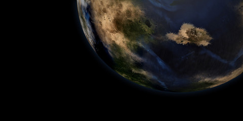 Extremely detailed and realistic high resolution 3d illustration of an Earth like Exoplanet from a distant Galaxy. Shot from Space. Elements of this image are furnished by Nasa
