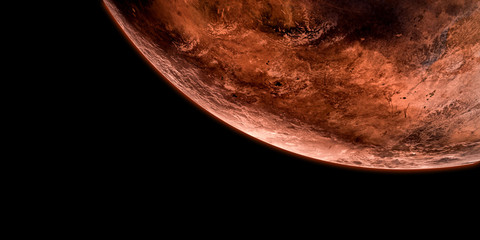 Extremely detailed and realistic high resolution 3d illustration of red planet Mars. Shot from Space. Elements of this image are furnished by Nasa.