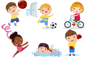 Group of sport children collection