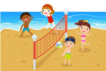 Happy kids playing beach volleyball