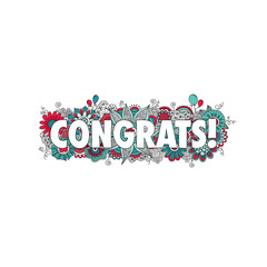 Congratulations doodle vector illustration with the word congrats! surrounded by swirls, flowers, mandalas, balloons and curls.