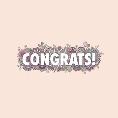 Congratulations doodle vector illustration with the word congrats! surrounded by swirls, flowers, mandalas, balloons and curls on a pink background,