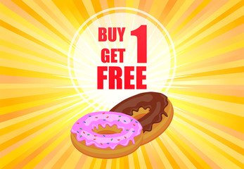 Buy one get one donuts promotion poster vector