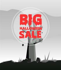 Big halloween sale poster vector image