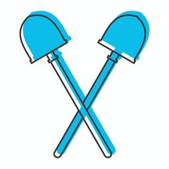 Crossing shovels icon in doodle style vector illustration for design and web