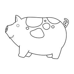 farm pig isolated icon vector illustration design