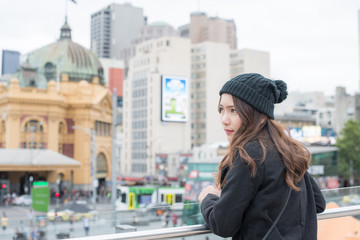 Portrait of Asian women travel in Melbourne the most liveable city in the world of Victoria state of Australia.