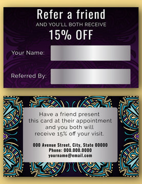 Beauty Salon with cute abstract doodles Look - Discount Coupon, Loyalty Card Template.