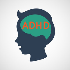 ADHD, Attention Deficit Hyperactivity Disorder concept, vector illustration