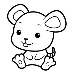 Black And White Mouse character sits forward. Asian Zodiac Isolated Rat Vector Illustration.