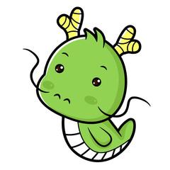 Dragon character sits forward. Asian Zodiac Isolated Draconic Vector Illustration.