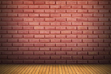 Wall Mural - red brick wall and wood floor with shadow for pattern and background