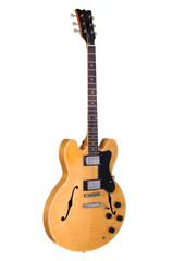 Light Yellow hollow body guitar on white background