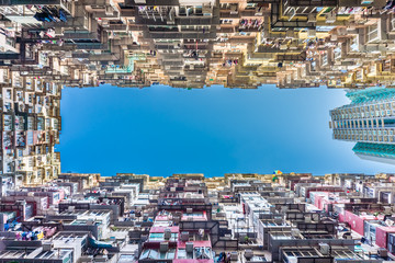 Bottom up view of Yick Fat Building. It is located east of Hong Kong's Central Business District, on Hong Kong Island. Fototapete