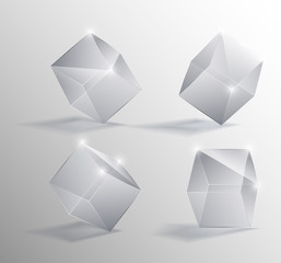 Vector realistic illustration of a transparent glass cubes in different positions, with shadow, isolated on a gray background. 3-D design