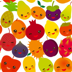 seamless pattern funny kawaii fruit Pear Mangosteen tangerine pineapple papaya persimmon pomegranate lime apricot plum dragon fruit figs mango peach lemon lychee apple kiwano isolated on white. Vector