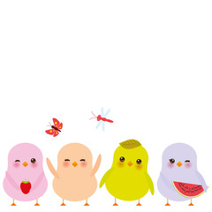 Kawaii colorful green orange pink chick with pink cheeks and winking eyes, pastel colors on white background. Vector
