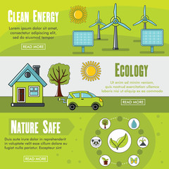 Set of three horizontal ecology banners with colorful images