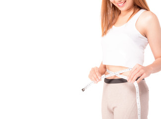 Closed up of Slim beautiful fitness model young woman measuring her waist with a tape measure,isolated on white with copy space