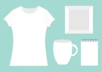 Template for designers presentation. Branding mockup. T-shirt template. White color. Woman model. T shirt Front side. Picture frame, cup, spring notebook notepad. Flat design Isolated Blue background.