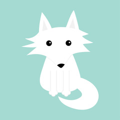 White fox. Polar wolf. Cute cartoon baby character icon. Arctic animal collection. Flat design Winter blue background Isolated.