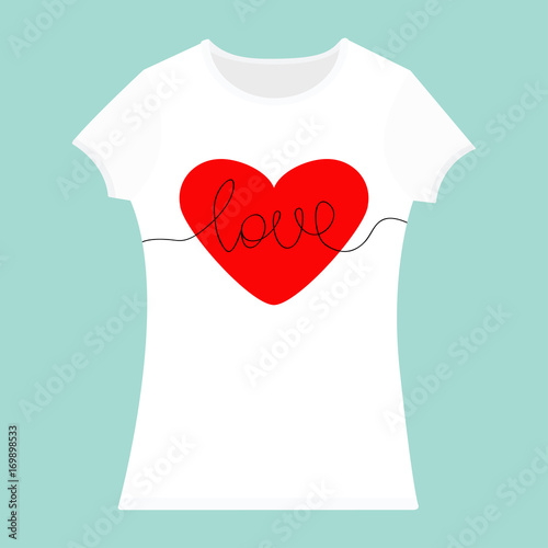 word love lettering red heart t shirt template white color woman