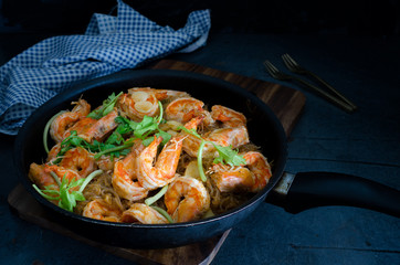 Casseroled Prawn with Glass Noodles On Chopping board