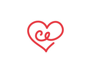 Lowercase letter ce and heart 1