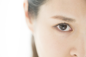 Close up the woman's eyes