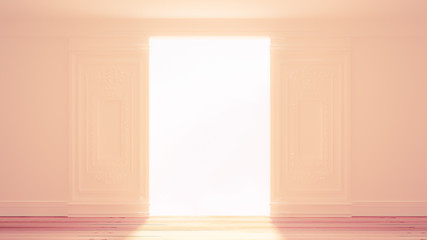 White interior door. 3d illustration, 3d rendering.