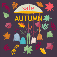 Autumn Sale. Background with Leaves