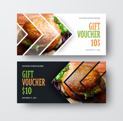 Vector design gift voucher with arrows for the image