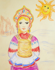 Russian girl in the national costume with pancakes.