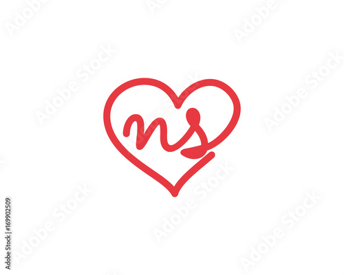 Lowercase Letter Ns And Heart 1 Stock Image And Royalty Free Vector
