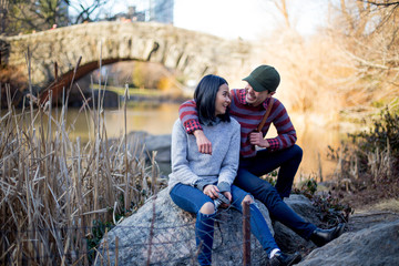 Young couple resting in Central Park