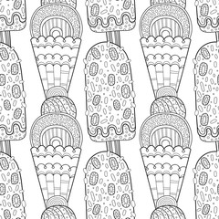Ice cream, dessert. Black and white illustration for coloring book, pages. Seamless decorative pattern for design.