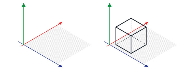 Fototapeta Isometric drawing a thirty degreesangle is applied to its sides. The cube opposite. 3d coordinate axis vector . Isometric Grid vector