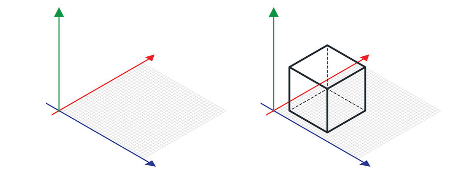 Isometric drawing a thirty degreesangle is applied to its sides. The cube opposite. 3d coordinate axis vector . Isometric Grid vector