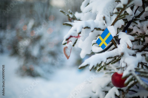 u0026quot sweden christmas  christmas tree covered with snow and a