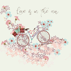 Beautiful save the date card  with bicycle and flowers