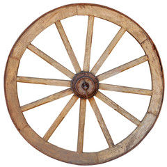 Antique Wagon Wheel on White Background