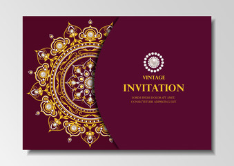 invitation card vintage design with diamond mandala pattern on red background vector