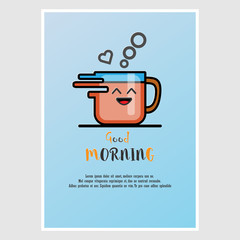 Vector greetings in the morning. With a glass of coffee On a blue background